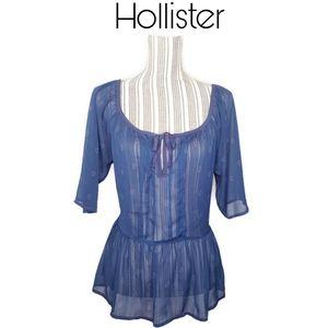 3/$25 🥂 Hollister Sheer Peplum Blue Top Size L